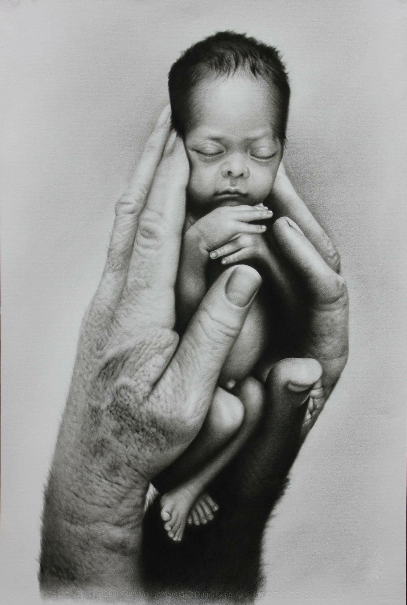 jpg royalty free download Drawing charcoal baby. Very touching i made