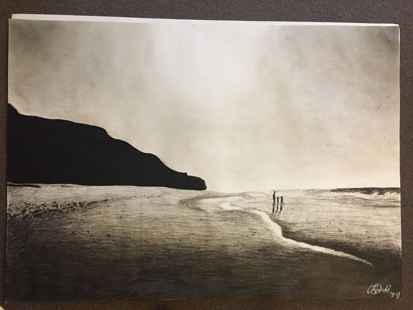 clipart download Drawing charcoal beach. A of portugal scene