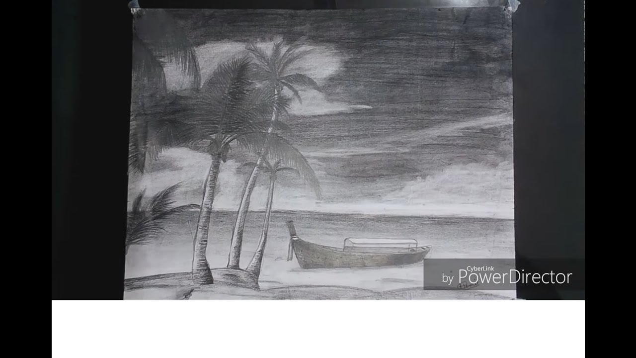 picture royalty free How to sketch beautiful. Drawing charcoal beach
