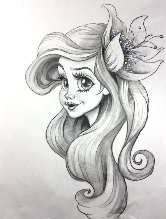 vector royalty free Little mermaid original pencil. Drawing charcoal cartoon