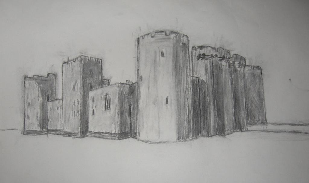 graphic free Drawing charcoal castle. Of bodiam by strikehawk