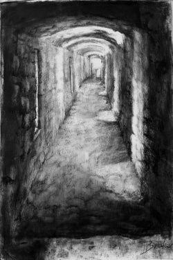 clip transparent stock Drawing charcoal castle. Corridor of lights pembroke
