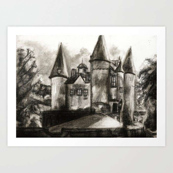 banner free Of a gothic church. Drawing charcoal castle