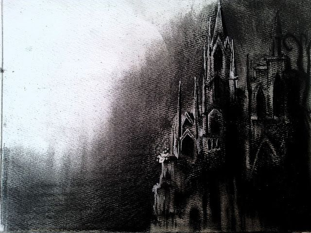 graphic freeuse Drawing charcoal castle. Scences drawings with