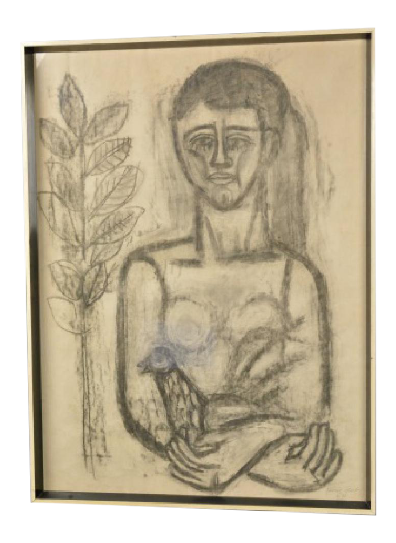 stock Drawing charcoal child. Listed artist jose garcia