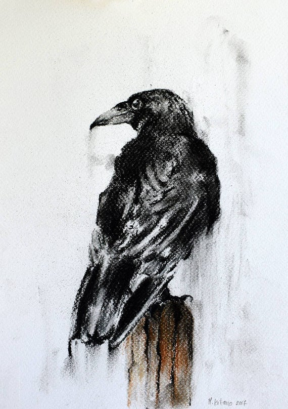 clipart freeuse stock Drawing charcoal crow. Original raven on a