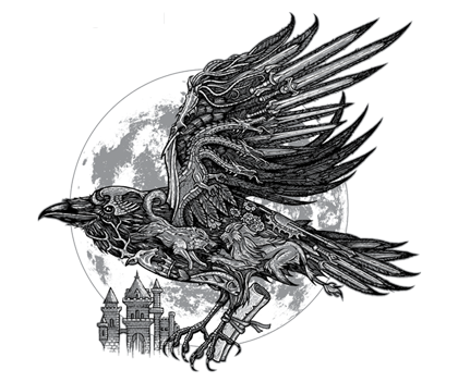 banner transparent library Send a raven the. Drawing charcoal crow