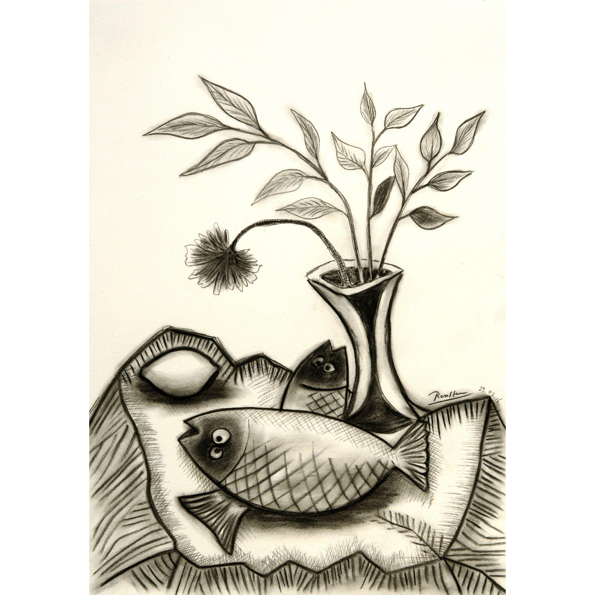 clipart freeuse stock Two fish a lemon. Drawing charcoal flower