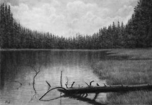 svg freeuse download Drawing charcoal landscape. Details about original river