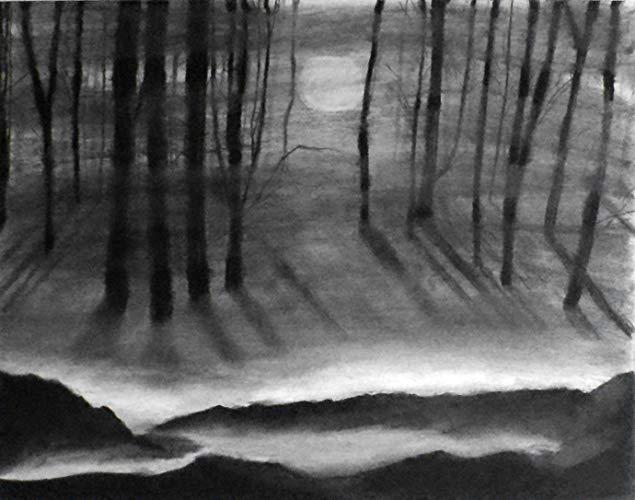 royalty free Drawing charcoal landscape. Amazon com x through