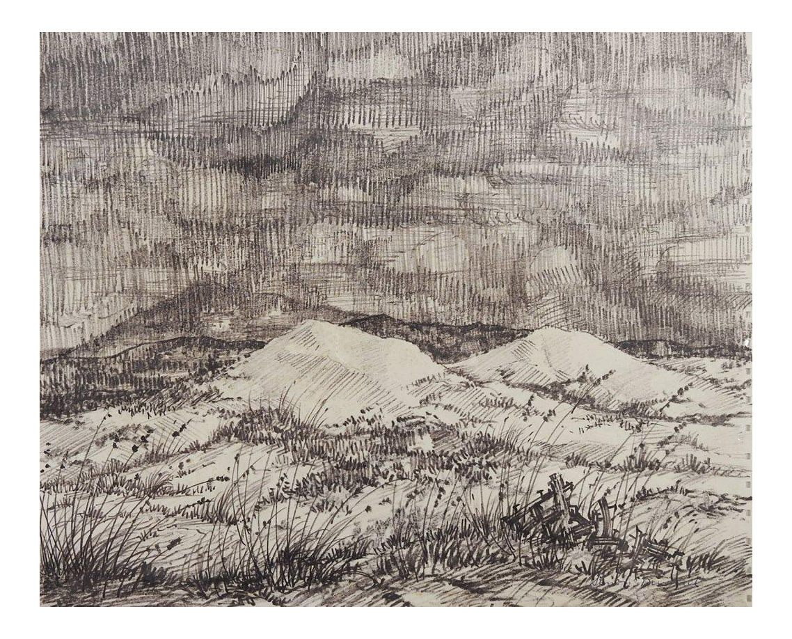 vector royalty free download Drawing charcoal landscape. Simon michael evening chairish