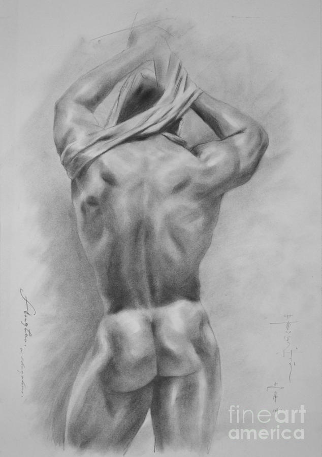 svg free Drawing charcoal male. Original art nude on