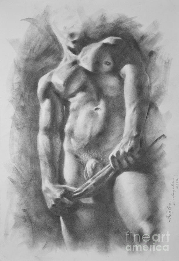 graphic freeuse library Original art nude on. Drawing charcoal male