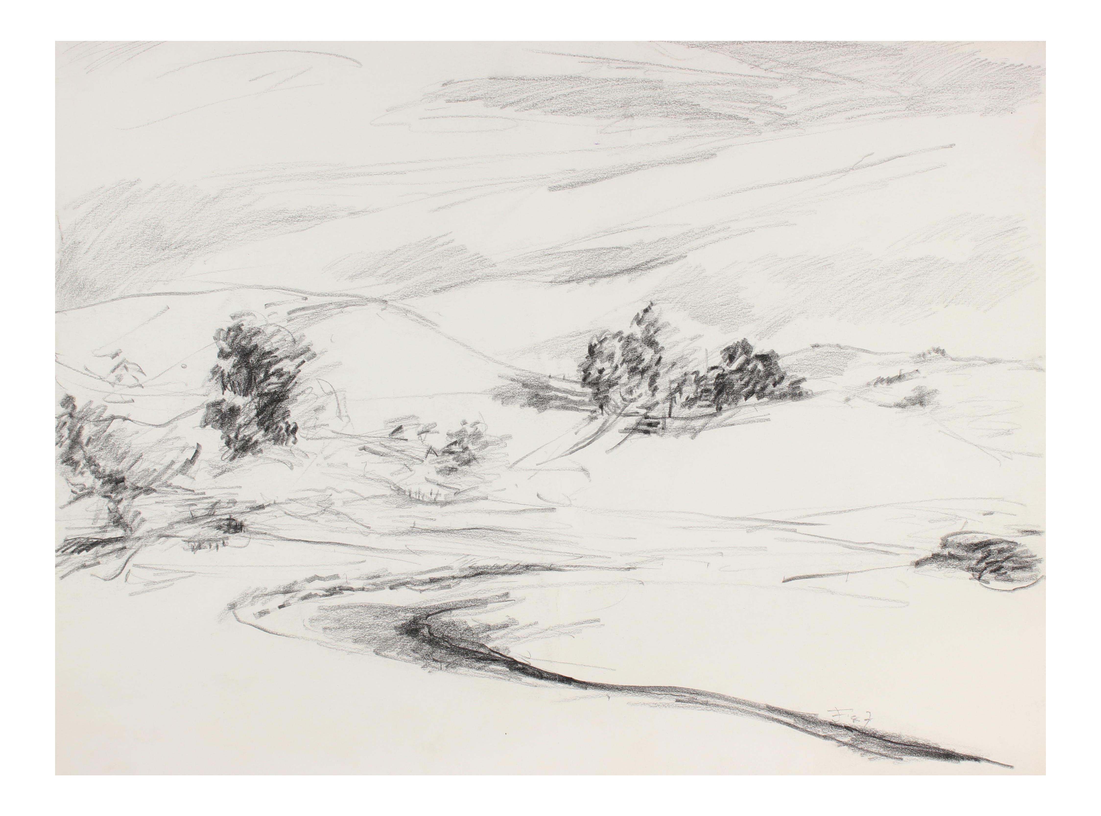 clip art free download Drawing charcoal minimalist. California landscape in chairish