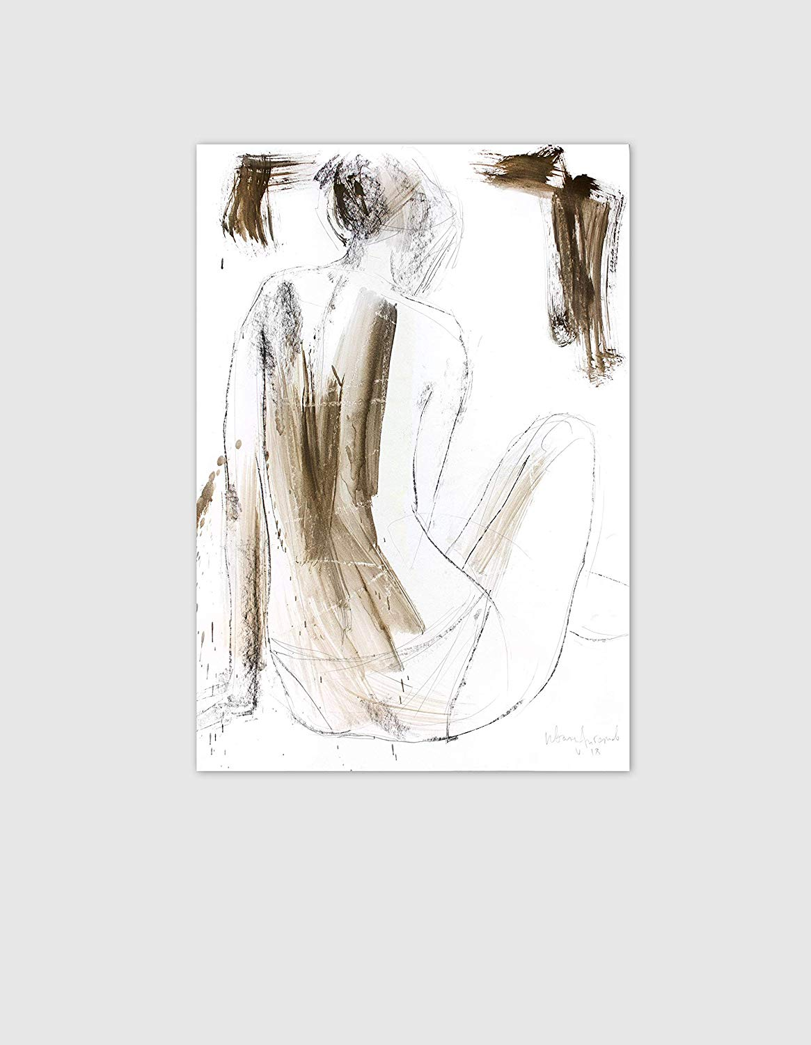 clip art royalty free download Amazon com nude sketch. Drawing charcoal minimalist