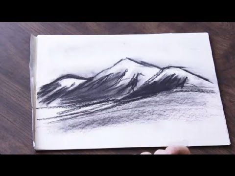 png black and white library How to draw a. Drawing charcoal mountain