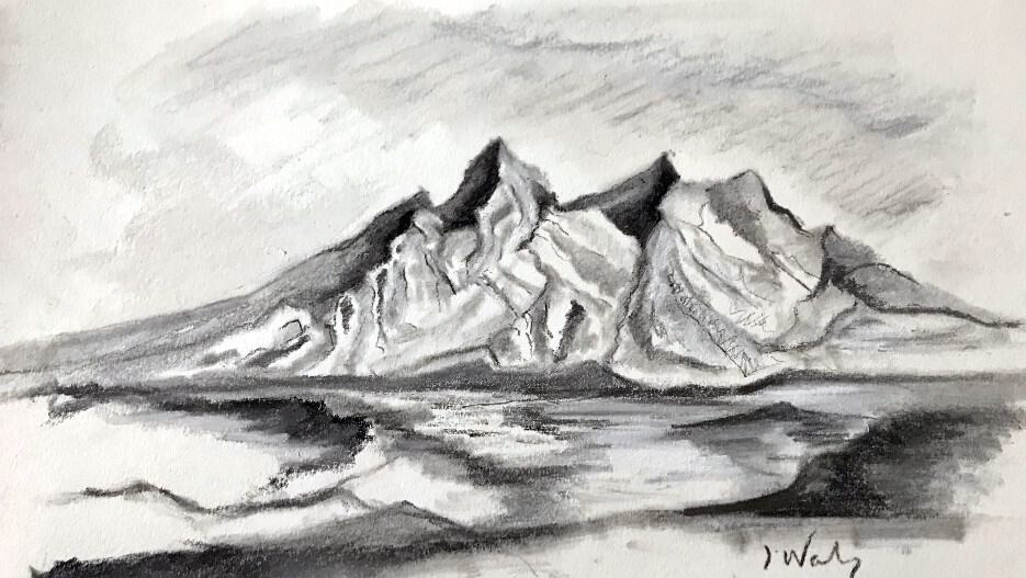 jpg transparent download How to draw mountains. Drawing charcoal mountain