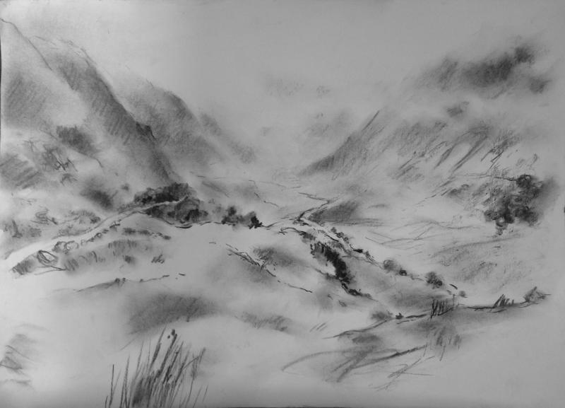 image black and white stock Drawing charcoal mountain. Mist and low clouds