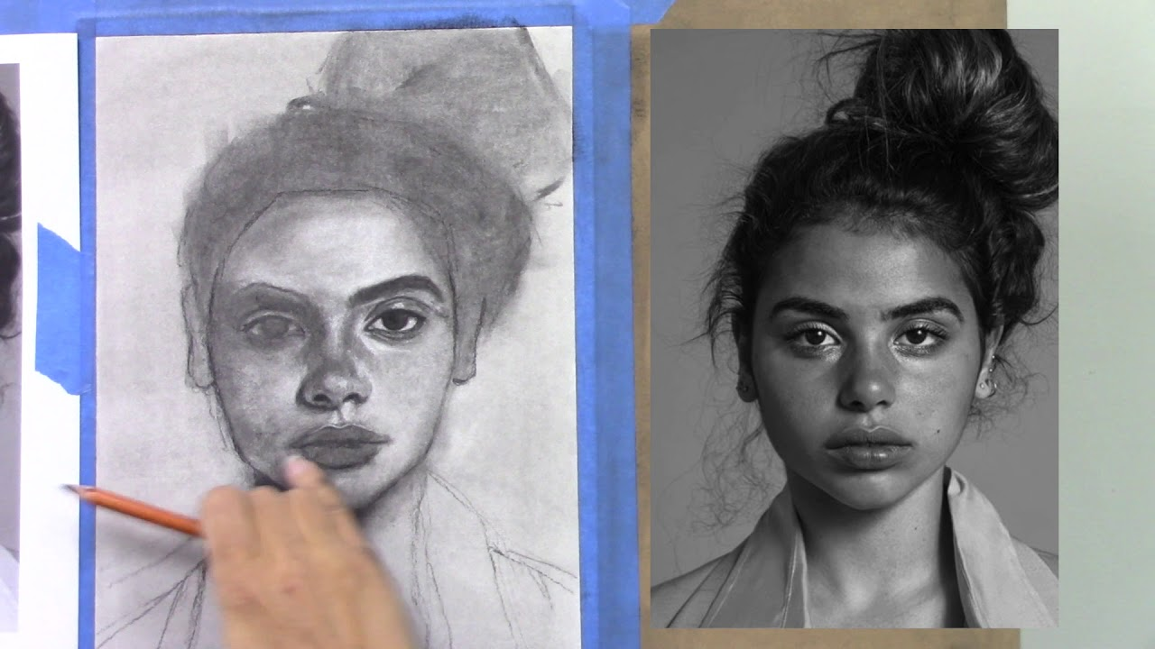 graphic freeuse stock Drawing charcoal portrait. Tutorial female
