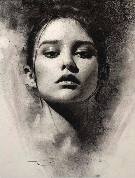 vector free New work on paper. Drawing charcoal portrait