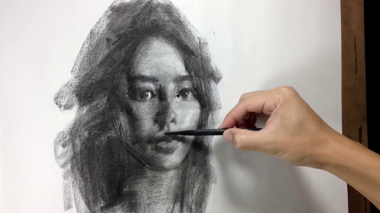 svg stock Drawing portrait charcoal. In