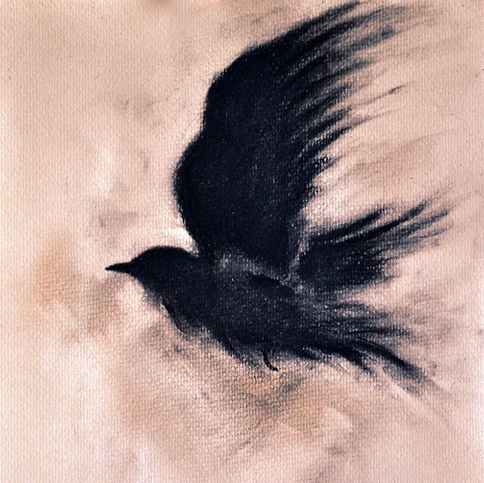 clip art free stock Drawing charcoal raven. Original on a branch