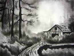png black and white Drawing charcoal scenery. Image result for easy