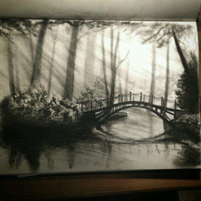 vector transparent download Wonderous landscape sketchbook sketch. Drawing charcoal scenery