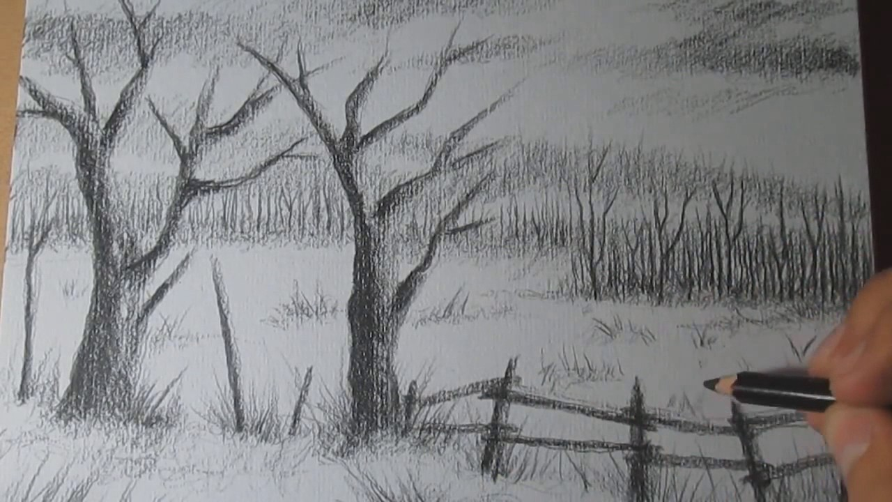 graphic royalty free library Drawing charcoal scenery. How to draw a