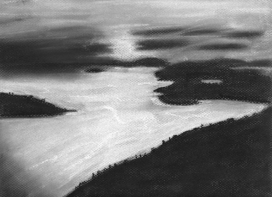 picture royalty free Drawing charcoal sunset. Ocean