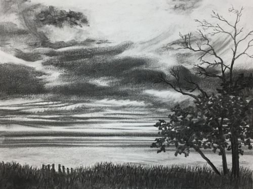 banner black and white library September value the cottage. Drawing charcoal sunset