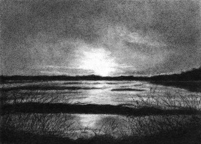 clipart transparent library Drawing charcoal sunset. In lucinda knowlton art