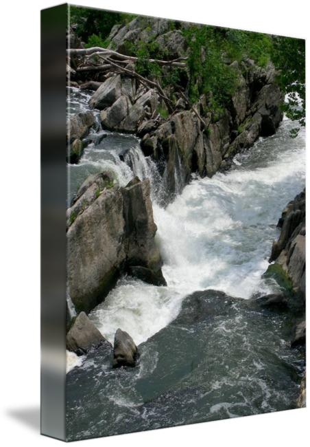 banner black and white library Drawing charcoal waterfall. Great falls iv by