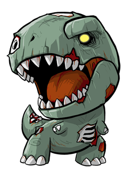 clip art black and white stock Lil Zombie Rex by KevinRaganit