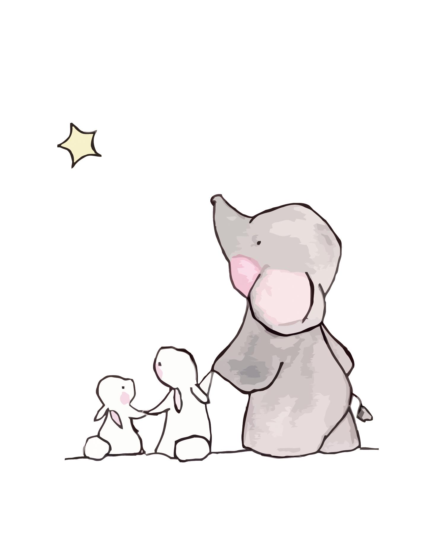 graphic royalty free Elephant Rabbit Drawing Child