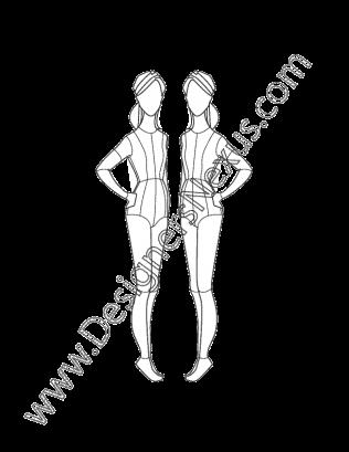 vector black and white download Childrens Fashion Croqui V