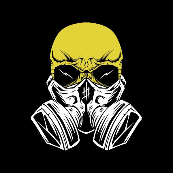 clip free stock Printed vinyl Gas Mask Skull