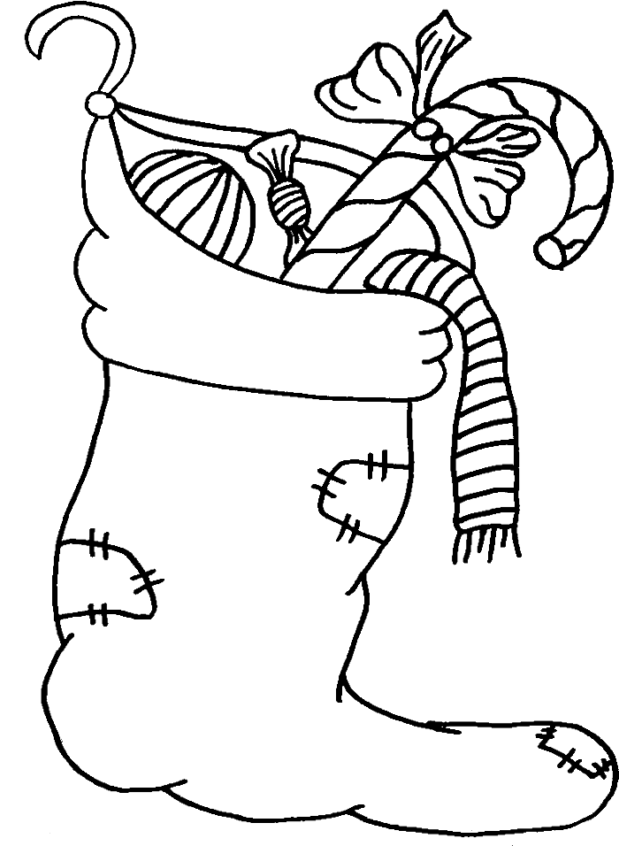picture black and white library Sock With Gift Merry Christmas Coloring Page