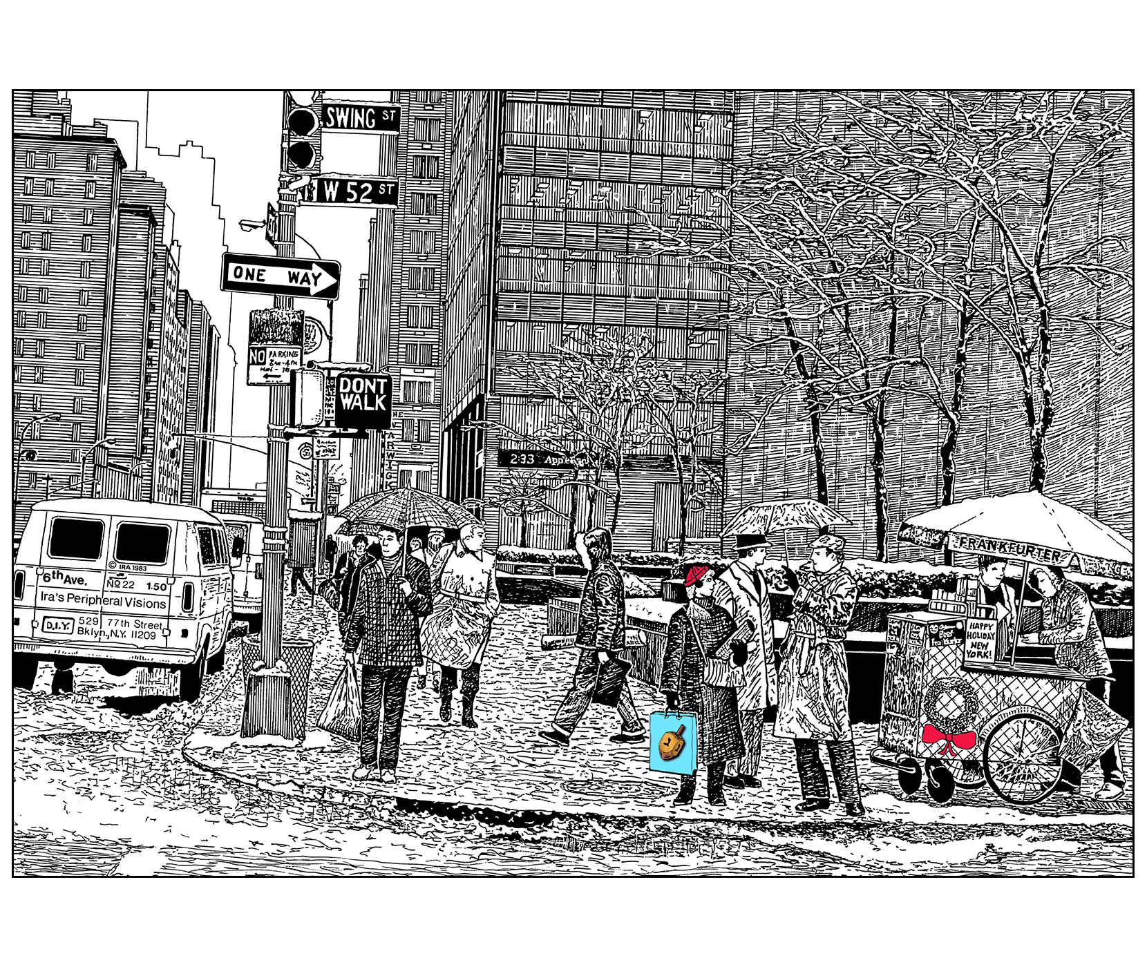 jpg transparent Drawing christmas pen and ink. Chanukah card sixth avenue