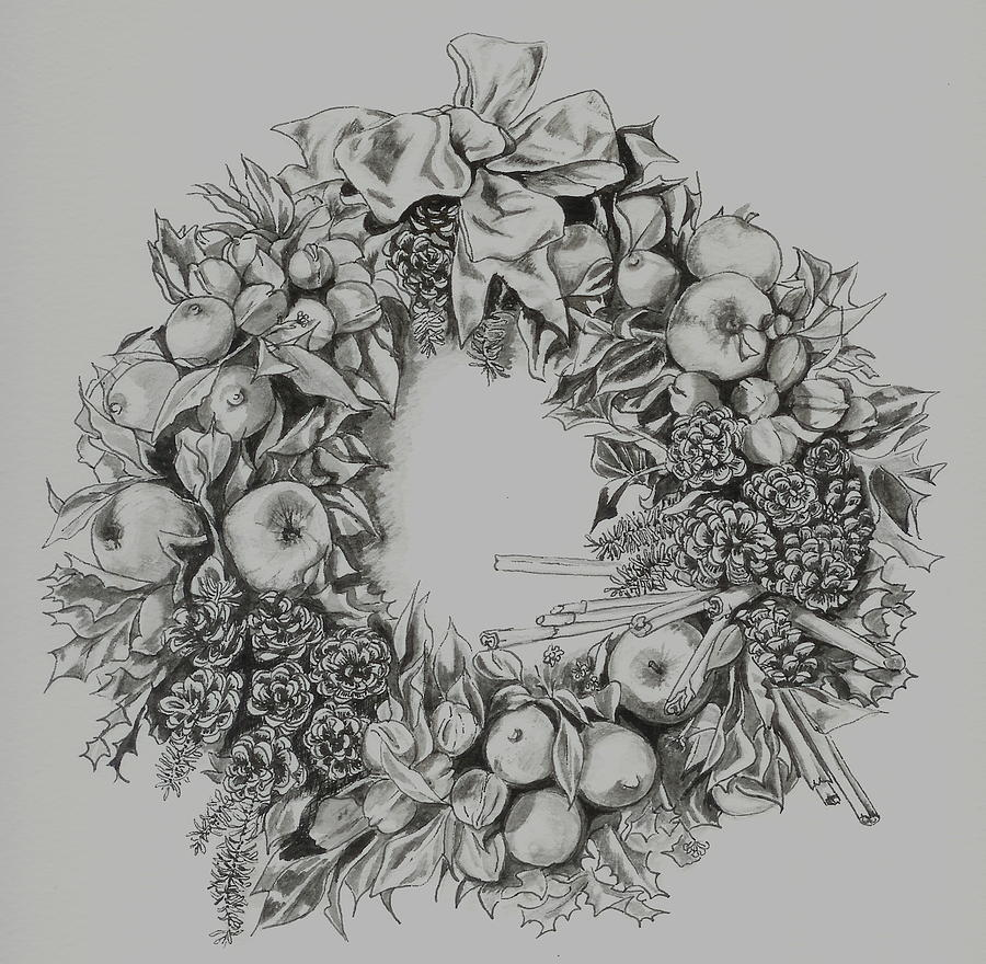 image free download Wreath . Drawing christmas pen and ink