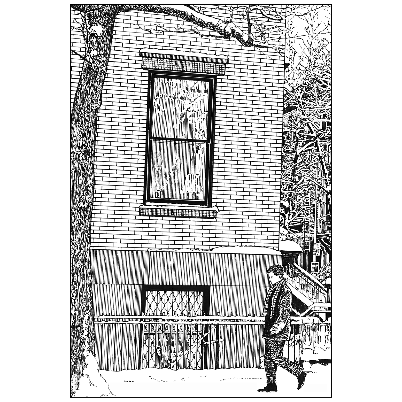 jpg Drawing christmas pen and ink. Card brooklyn winter ipv