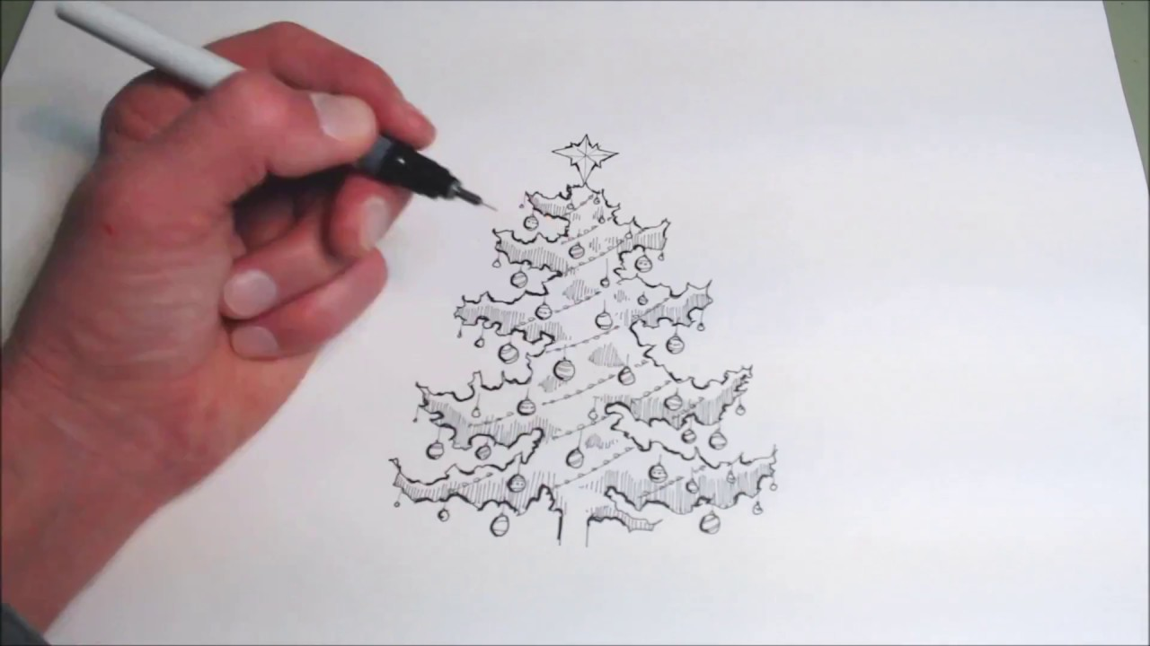 vector free library Drawing christmas pen and ink. A tree in speed