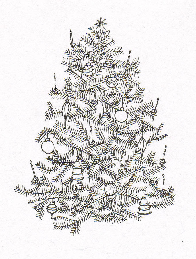 png freeuse download Drawing christmas pen and ink. Old fashion tree