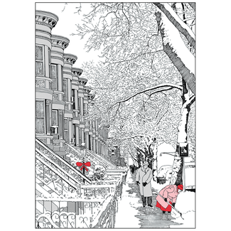 clipart library library Christmas Cards Pen and Ink