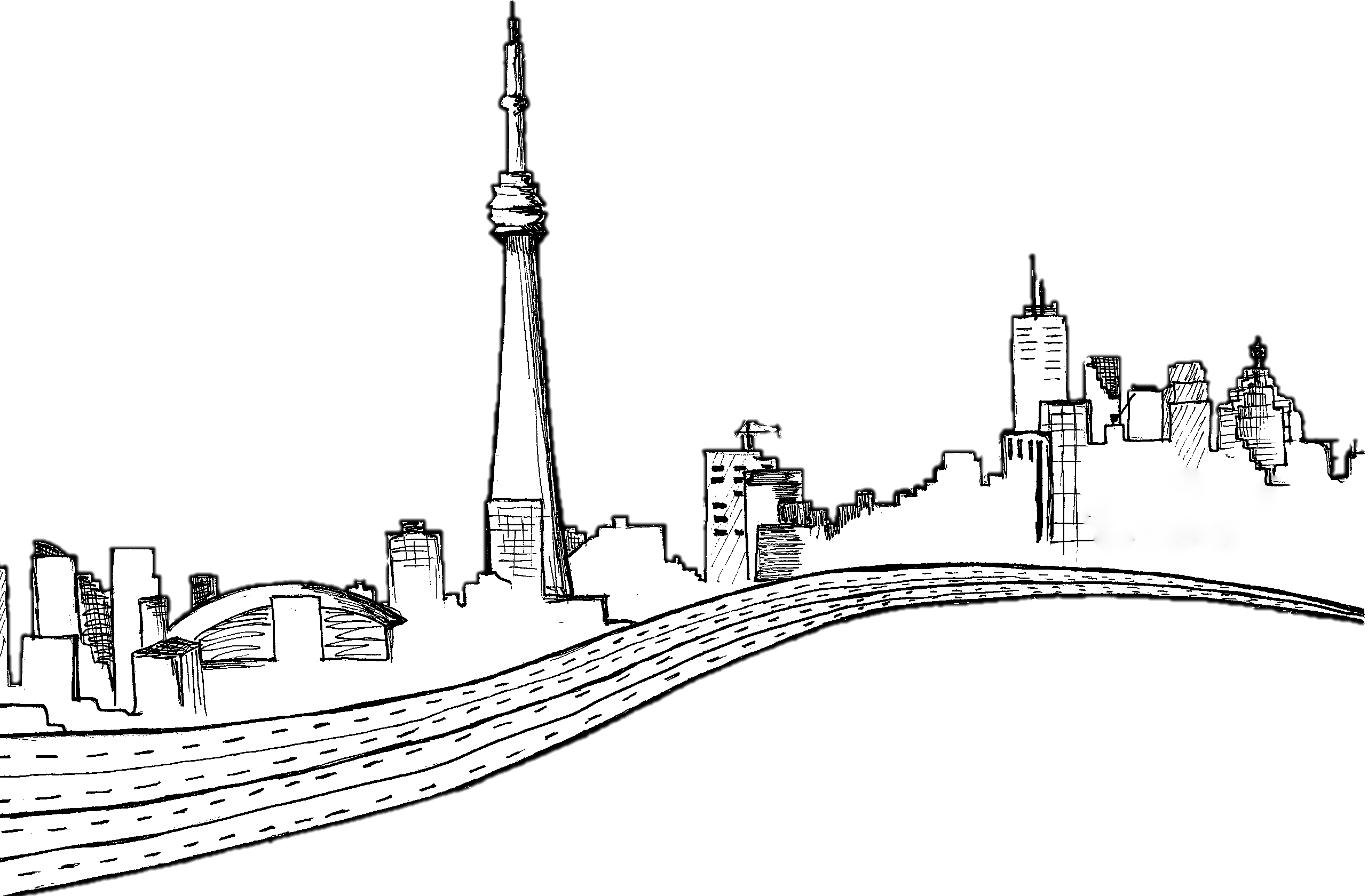 free library City Skyline Drawing at GetDrawings