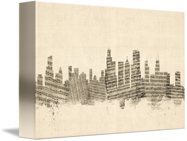 royalty free Chicago illinois skyline sheet. Drawing cityscapes