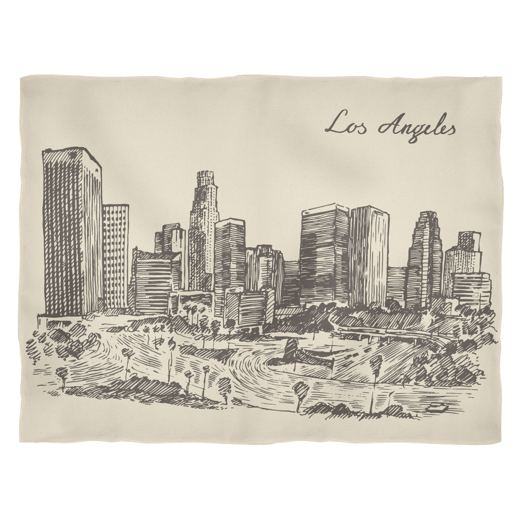 freeuse stock Los angeles california downtown. Drawing cityscapes hand drawn