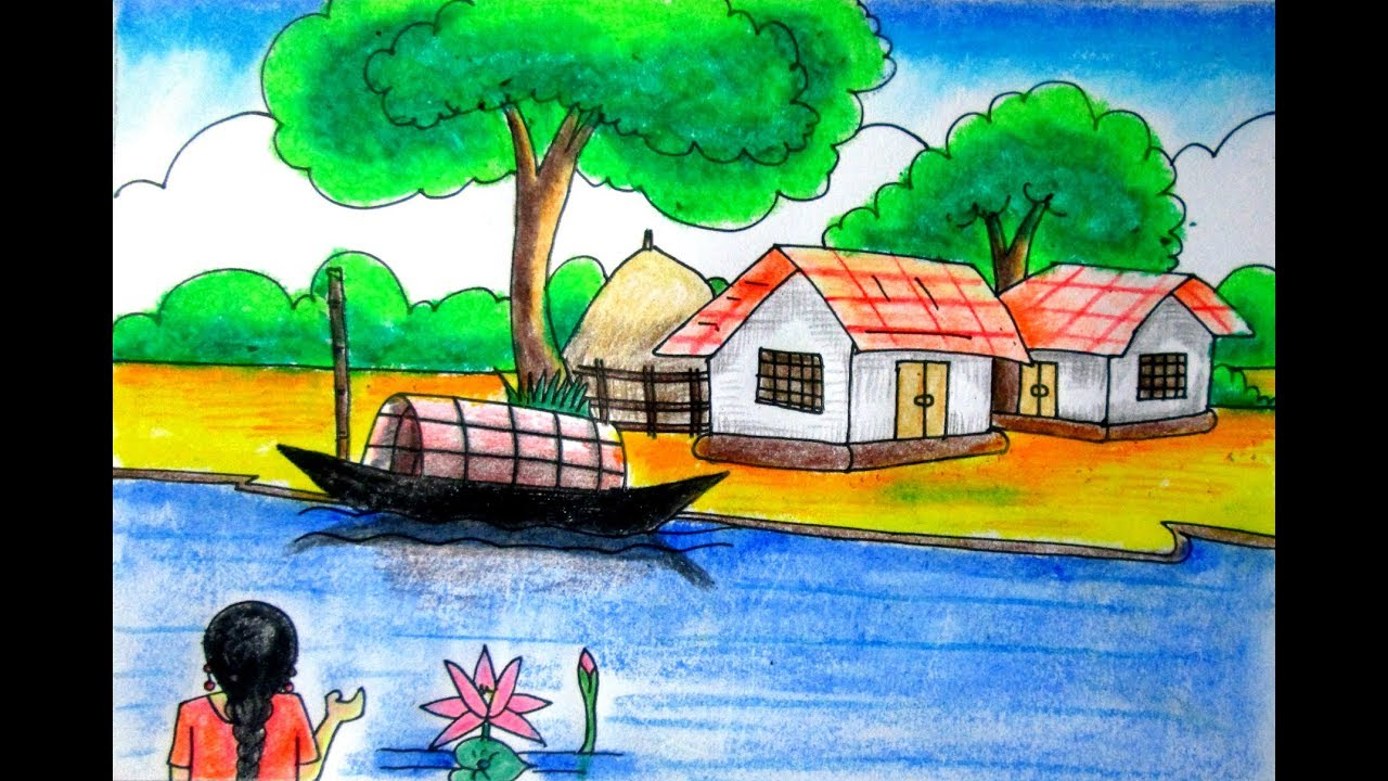 clip library Drawing competitions nature. Riverside scenery landscape for