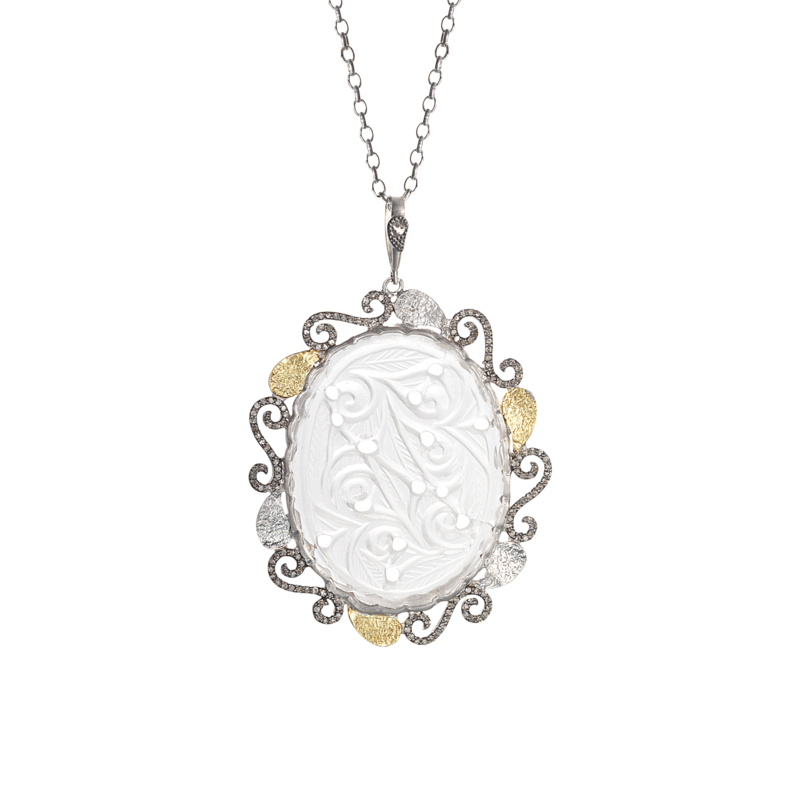 image free stock Sterling Silver Pendant with Crystal and Gold Leaf Design with Rose
