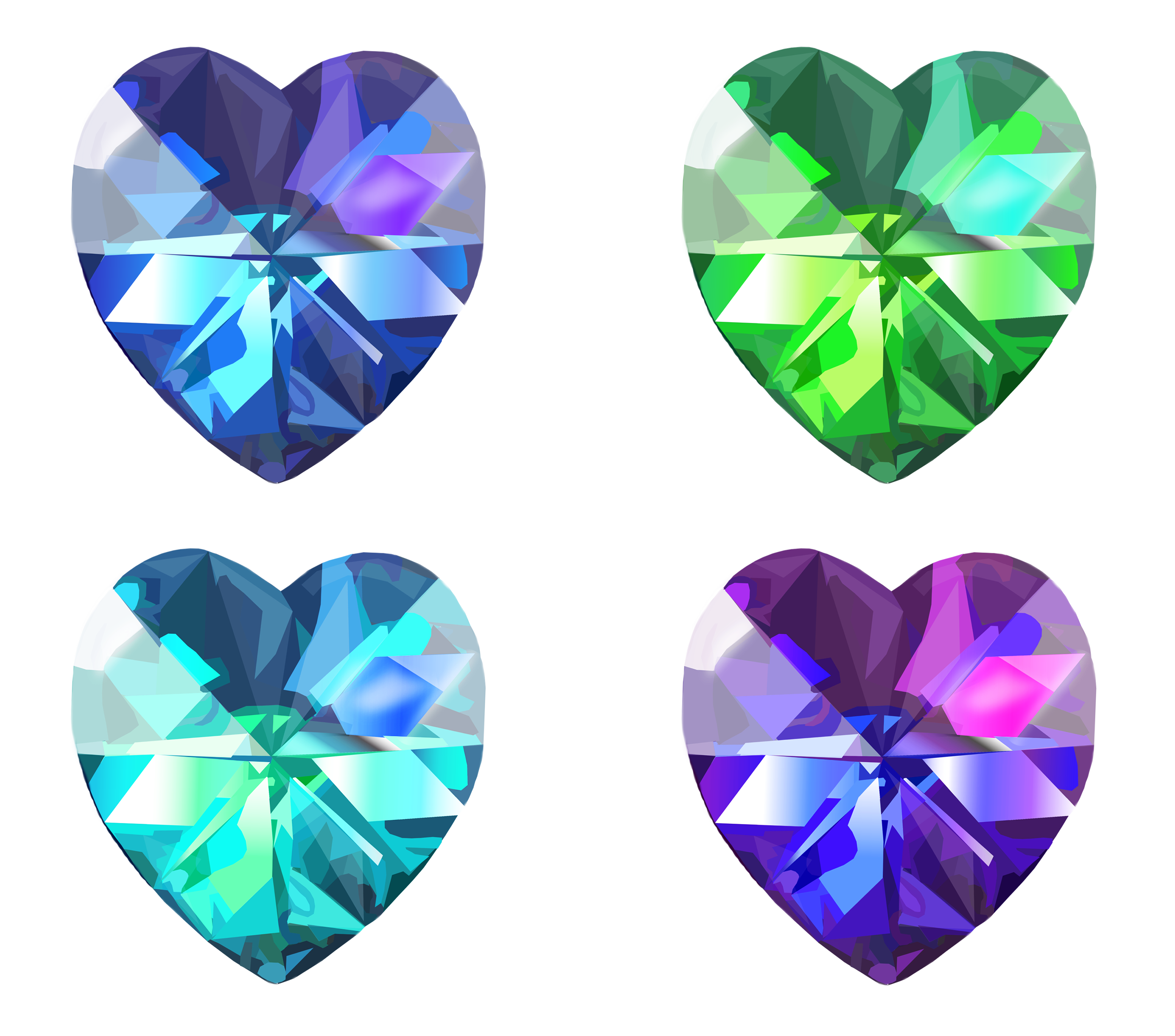 graphic library library Realistic Heart Crystal Vector Set